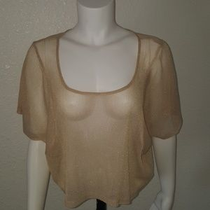 Nylon Sheer Gold Kimono Crop Top Goth BoHo M L